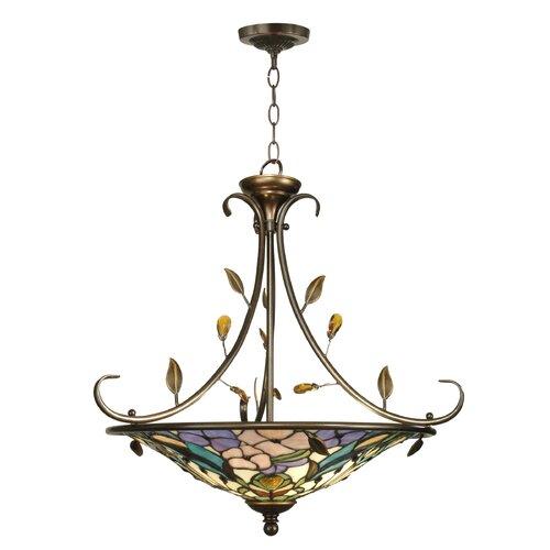 Dale Tiffany Crystal Peony2 Light Inverted Pendant