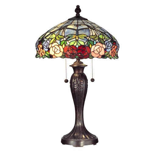Dale Tiffany Zenia Rose 2 Light Table Lamp