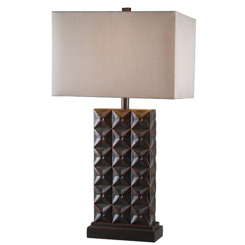 "Wildon Home ® Cross Hatch 11.38"" H Table Lamp with Rectangle Shade"