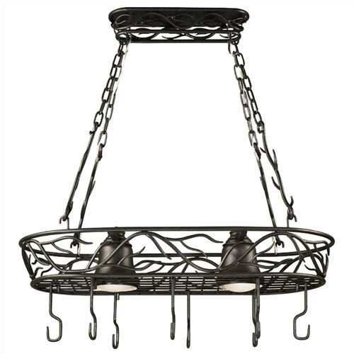 Peony Lighted Hanging Pot Rack