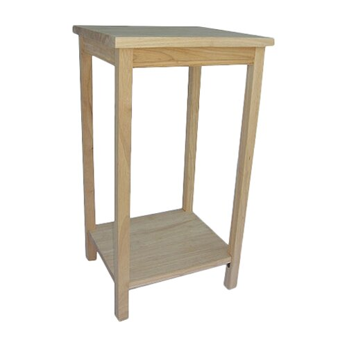 Unfinished Wood Tall Solid Wood End Table