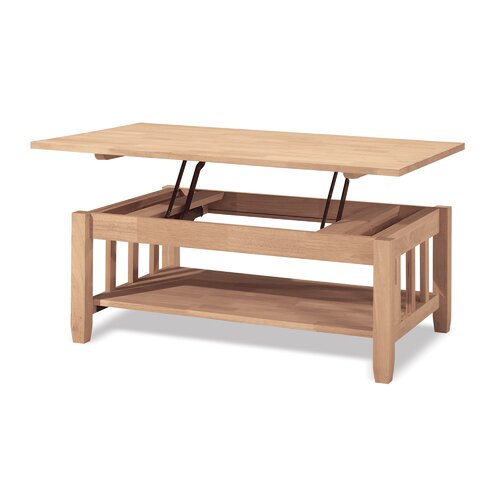 International Concepts Unfinished Wood Mission Coffee Table with Lift-Top