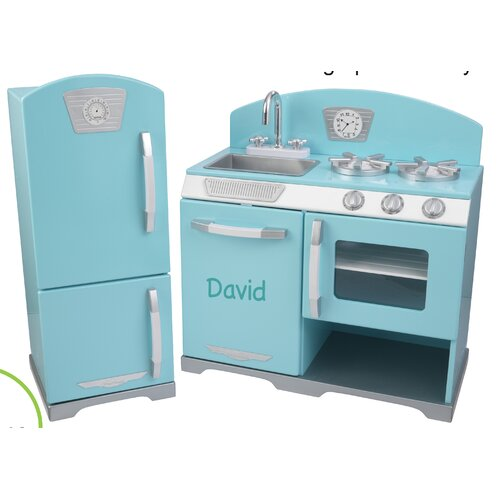 retro personalized kitchen and refrigerator set  kidkraft kitchen set
