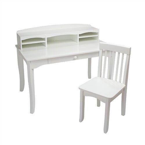"KidKraft Avalon 39.25"" W Writing Desk with Hutch and Chair"