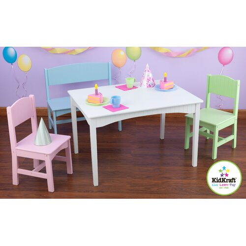KidKraft B1022886Nantucket Kids 4 Piece Table and Chair Set