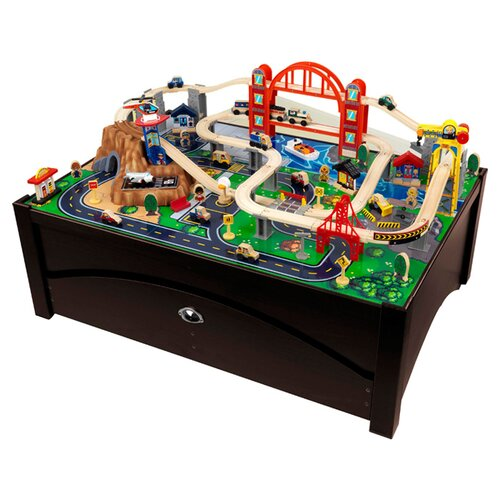 KidKraft Metropolis Train Set on Table with Trundle