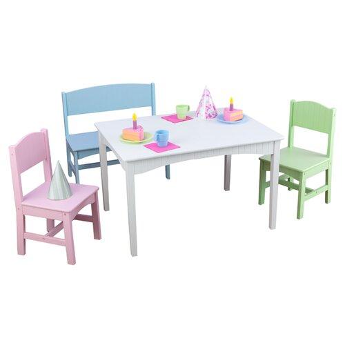 KidKraft Nantucket Kids' 4 Piece Table & Chair Set
