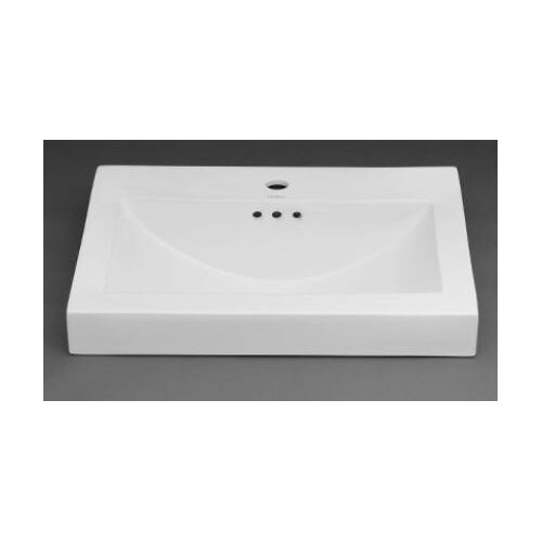Rectangle Ceramic Semi Recessed Vessel Bathroom Sink with Overflow