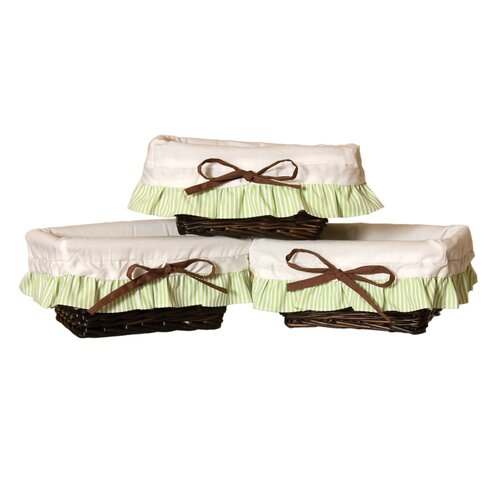 Baby Bear Wicker Storage Baskets in Chocolate (Set of 3)