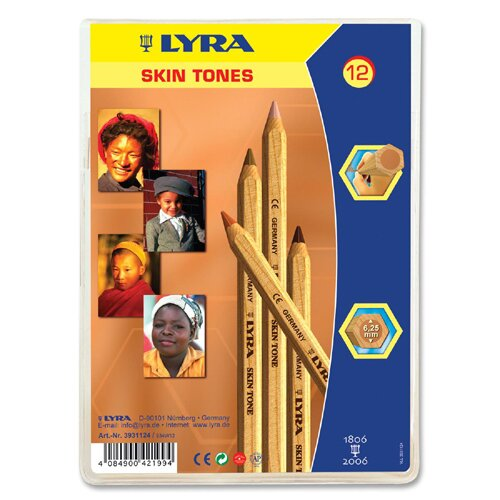 Dixon Ticonderoga Company Lyra Giant Large Diameter Colored Pencils, Hexagon, 6.25mm Core, 12/ST, Skin Tones