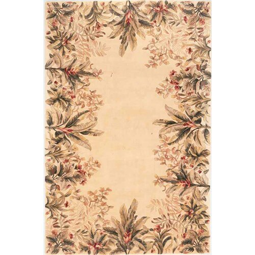Emerald Ivory Tropical Border Rug