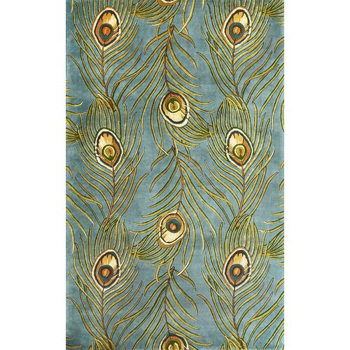 Catalina Blue Peacock Feathers Novelty Rug