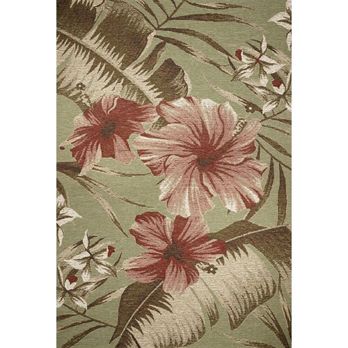 KAS Oriental Rugs Horizon Sage Green Hibiscus Indoor/Outdoor Rug