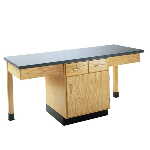 Diversified Woodcrafts 4 Station Science Table With Storage Cabinet and Book Compartment