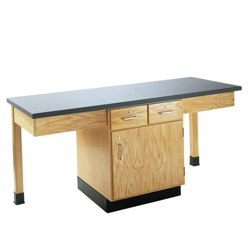 Diversified Woodcrafts 4 Station Science Table With Book Compartment & Drawers