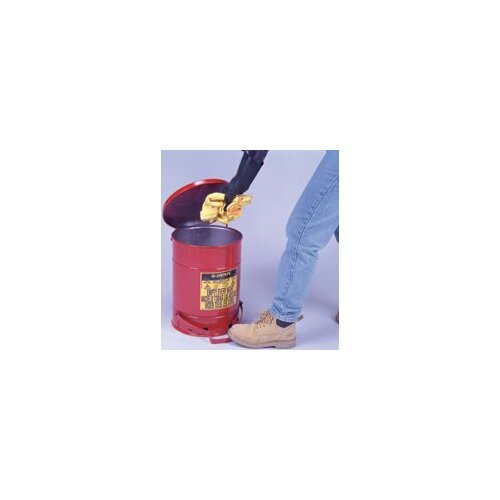 Justrite Red Oily Waste Cans - 21 gallon oily waste canw/lever