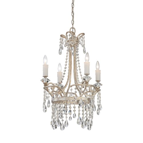 Quoizel Tricia Four Light Chandelier in Vintage Silver