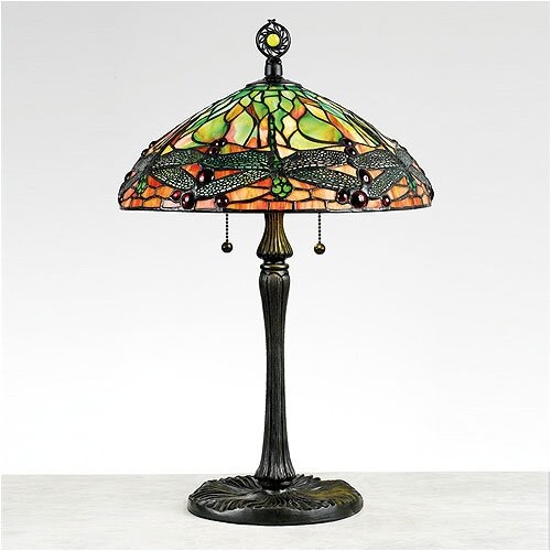 "Dragonfly Tiffany 22.5"" H Table Lamp With Bowl Shade"