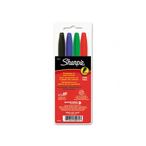 Sharpie® Permanent Markers, Fine Point (4 Pack)