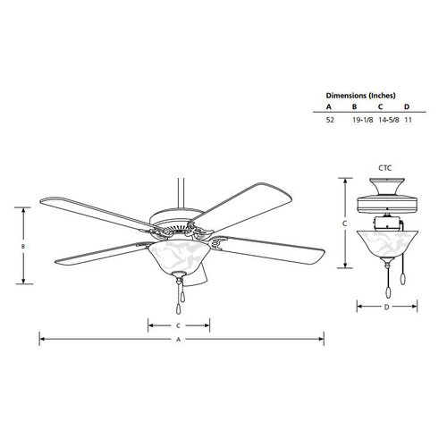 "Progress Lighting 52"" AirPro 5 Blade Ceiling Fan"