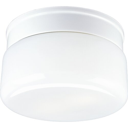 Progress Lighting Glass White Snap-in Fitter 2 Light Flush Mount