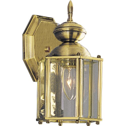 Progress Lighting Beveled Glass Small 1 Light Outdoor Wall Lantern with Beveled Glass and Open Bottom