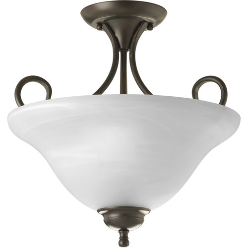 Progress Lighting Alabaster 2 Light Semi Flush Mount