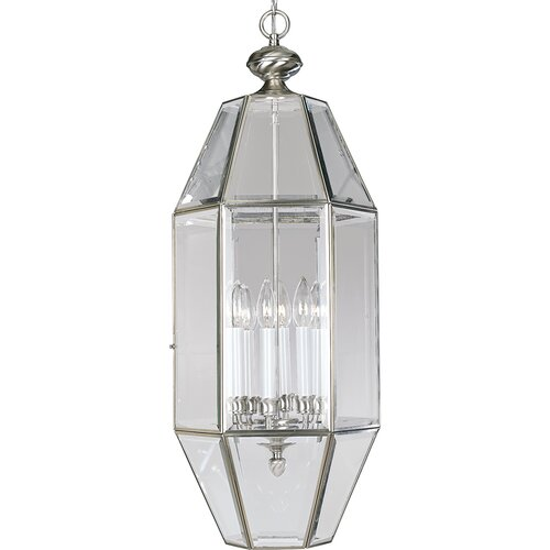 Progress Lighting Beveled Glass 6 Light Foyer Pendant