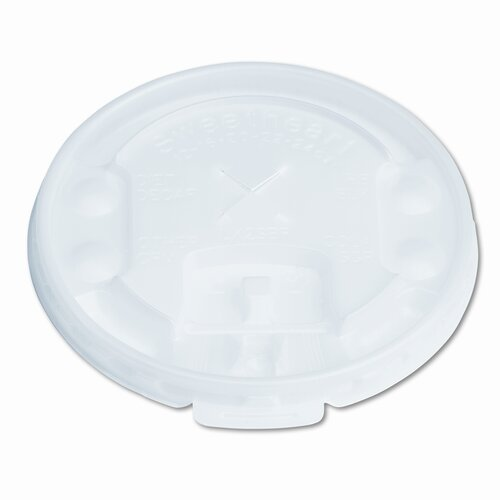 Solo Cups Company Liftback & Lock Tab Cup Lids For Foam Cups, with Straw Slot, 2000/Carton