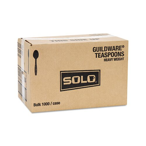 Solo Cups Guildware Heavyweight Plastic Teaspoons, Black, 1000/Carton