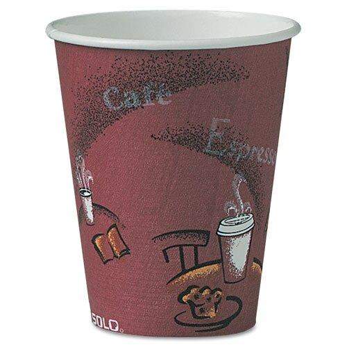 Solo Cups Company Bistro Design Hot Drink Cups, Maroon, 500/Carton