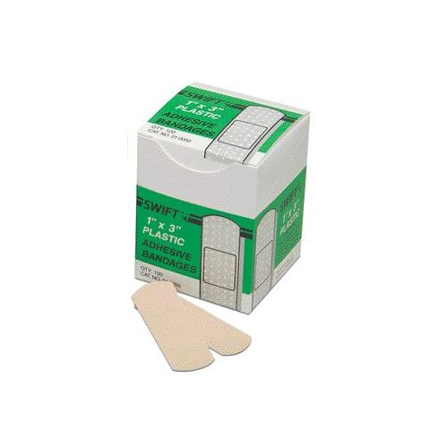 "Swift First Aid 1"" X 3"" Plastic Adhesive Bandage (100 Per Box)"