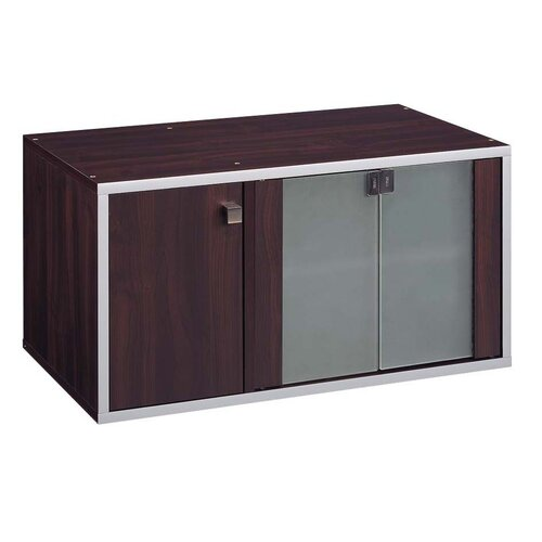 Quadrant Media Unit Double Cube in Espresso with Silver Trim