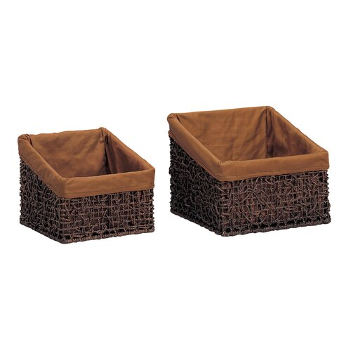 OIA Twist Slant Baskets in Rustic Brown Stain (Set of 2)