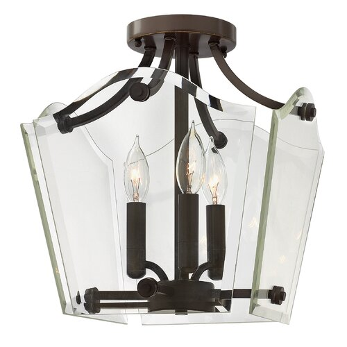 wingate 3 light semi flush mount foyer wayfair