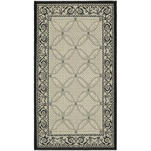 Safavieh Courtyard Ivory/Black Border Outdoor Rug