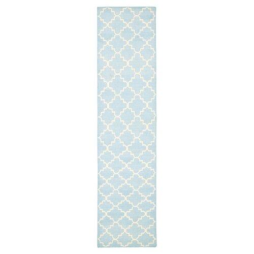Safavieh Dhurries Light Blue/Ivory Checked Rug
