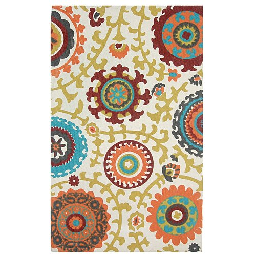 Cedar Brook Ivory / Orange Floral Rug