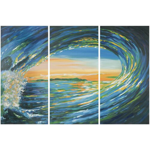 Blue Grotto 3 Piece Painting Print on Canvas Set