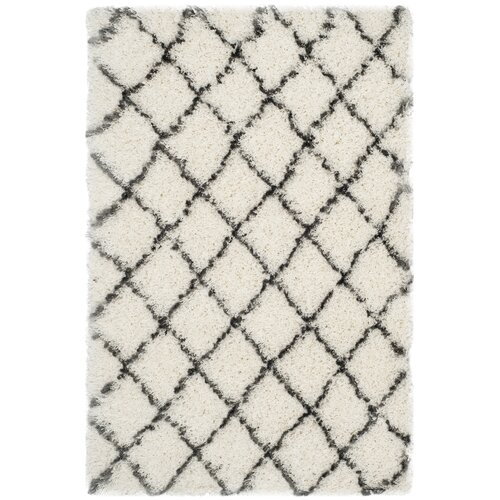 Moroccan Shag Ivory / Grey Geometric Contemporary Rug