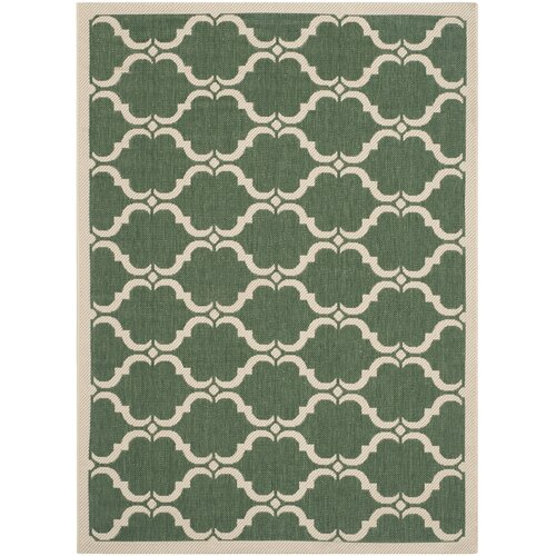 Courtyard Dark Green / Beige Geometric Contemporary Rug