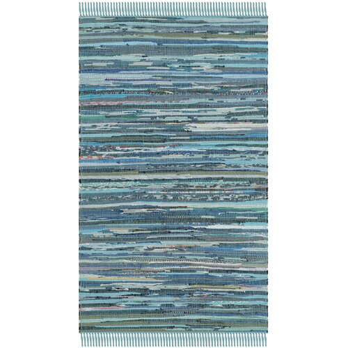 Rag Blue Striped Contemporary Rug