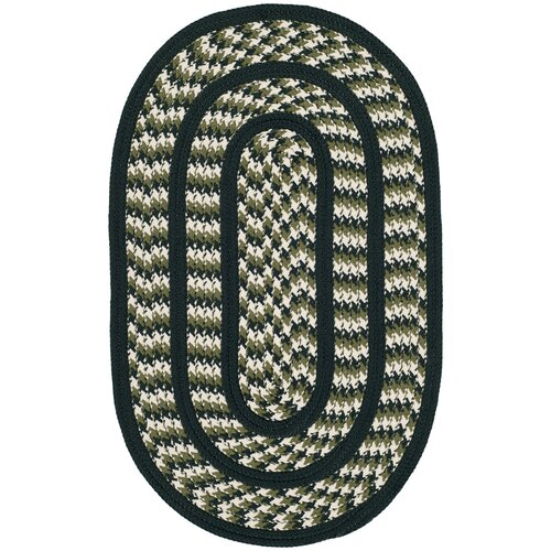 Braided Ivory / Dark Green Contemporary Rug