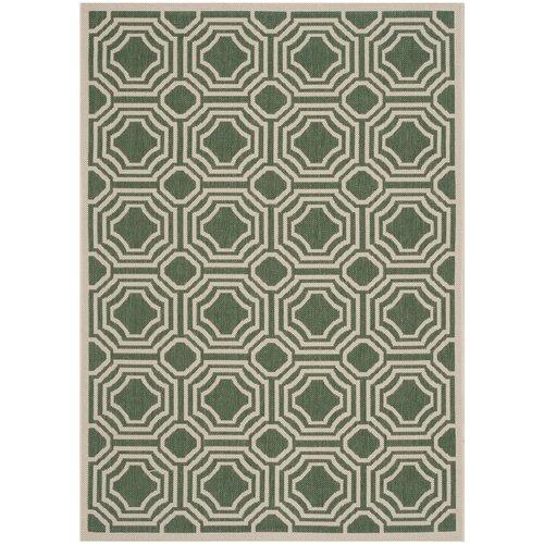 Courtyard Dark Green / Beige Geometric Rug