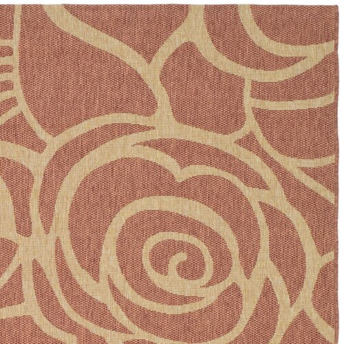 Safavieh Courtyard Rust/Sand Floral Outdoor Rug