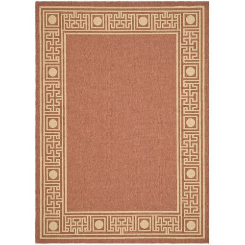 Courtyard Rust/Sand Geometric Outdoor Rug