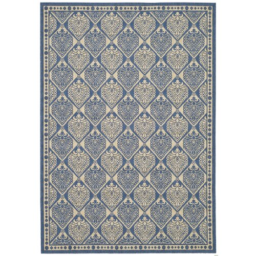 Courtyard Blue/Ivory Checked Outdoor Rug