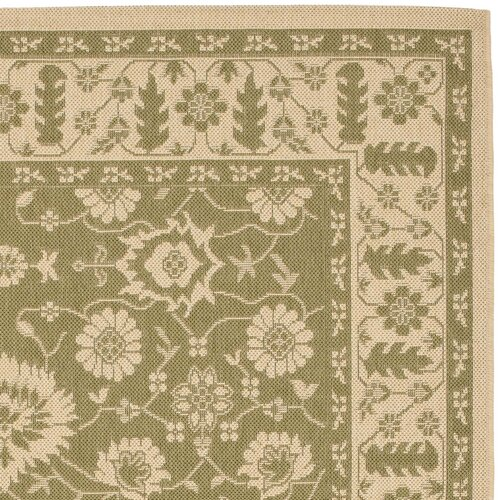 Safavieh Courtyard Green/Crème Flowers Outdoor Rug