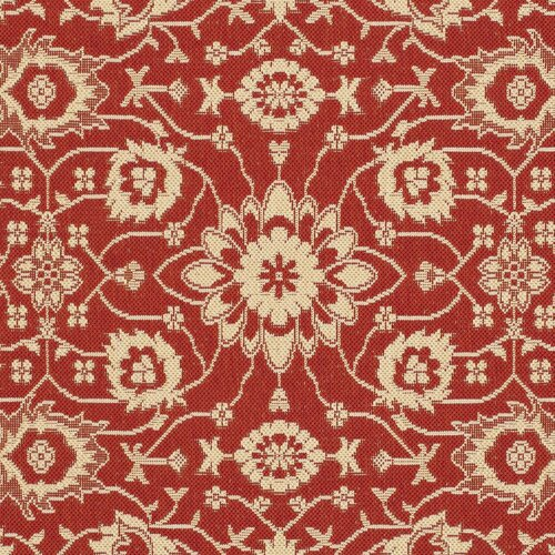 Safavieh Courtyard Red/Crème Flowers Outdoor Rug