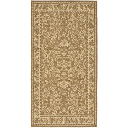 Safavieh Courtyard Gold/Crème Leaves Outdoor Rug